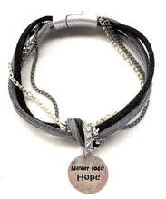 Load image into Gallery viewer, Gray and Silvertone 'NEVER LOSE HOPE' Knotted Cord Magnetic Bracelet