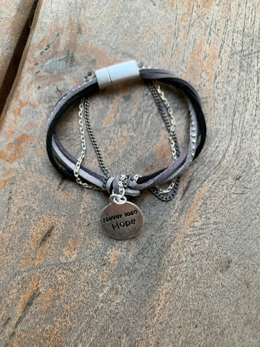 Gray and Silvertone 'NEVER LOSE HOPE' Knotted Cord Magnetic Bracelet