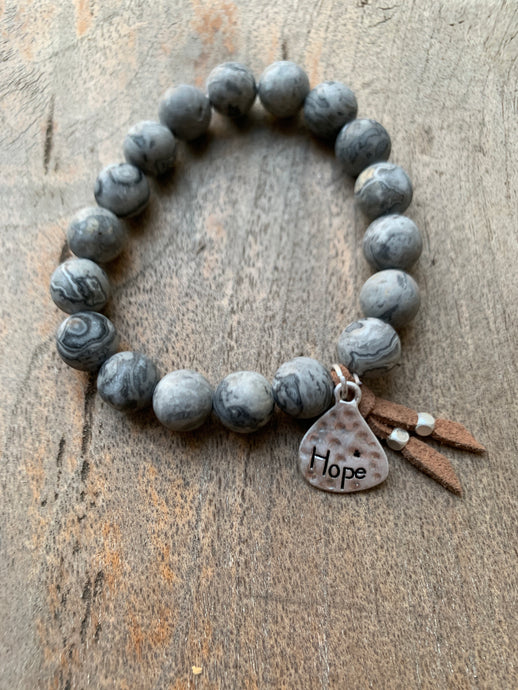Gray Jasper Beaded 'HOPE' Teardrop Charm Bracelet