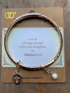Rose Goldtone with Silvertone 'Philippians 4:13' Twist Bangle with Charms