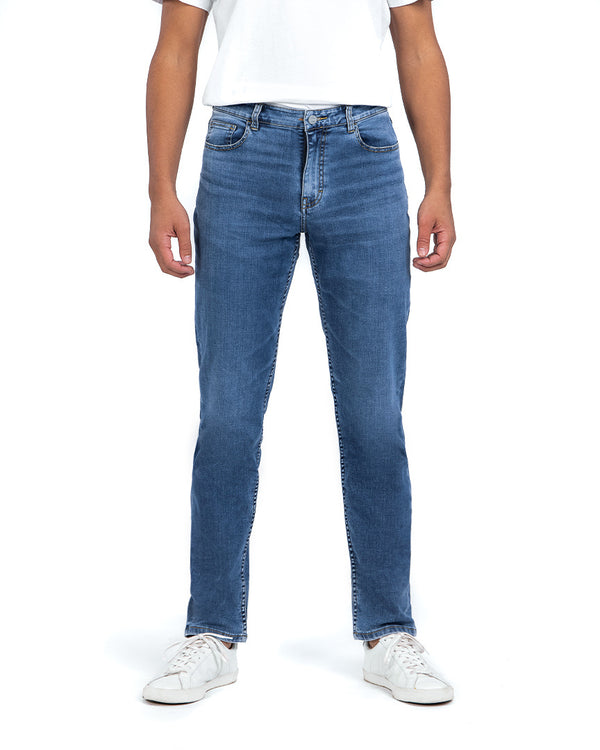 masculine tapered fit mid blue jeans