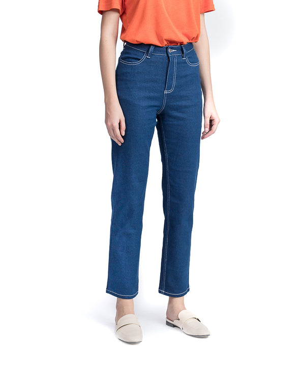 feminine relaxed fit mercury blue jeans