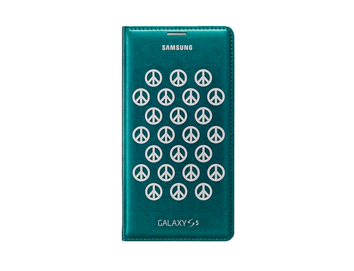 Flip Wallet Cover (Collaboration) (Galaxy S5 Moschino Green Silver Peace)