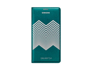 Flip Wallet Cover (Collaboration) (Galaxy S5 Green Silver Chevron)