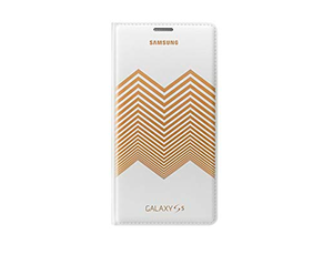Flip Wallet Cover (Collaboration) (Galaxy S5 White Gold Chevron)