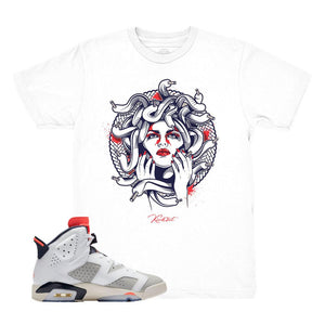 100% authentic cee94 b2920 Jordan 6 Tinker Medusa White Shirt