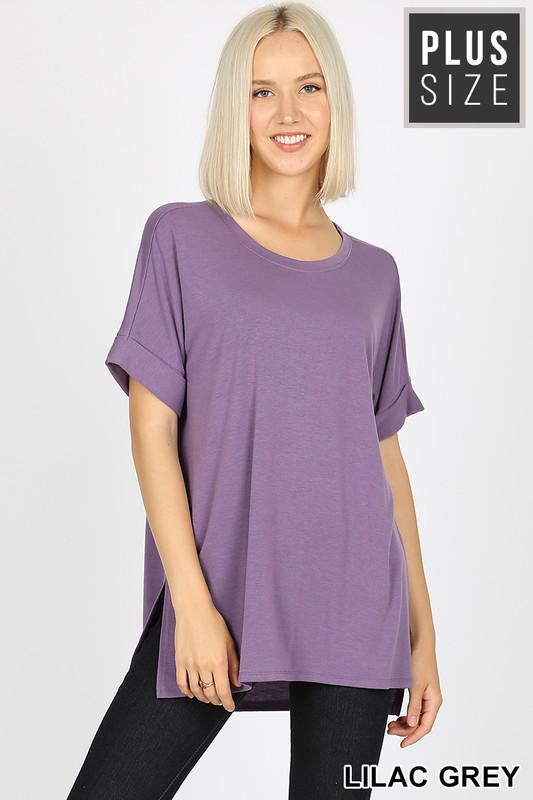 Basic Rolled Short Sleeve Tee | Lilac Grey