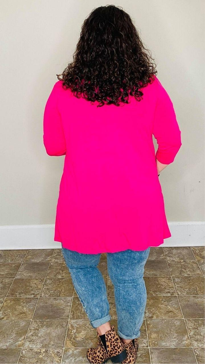 3/4 SLEEVE SLOUCHY POCKET OPEN CARDIGAN | Hot Pink