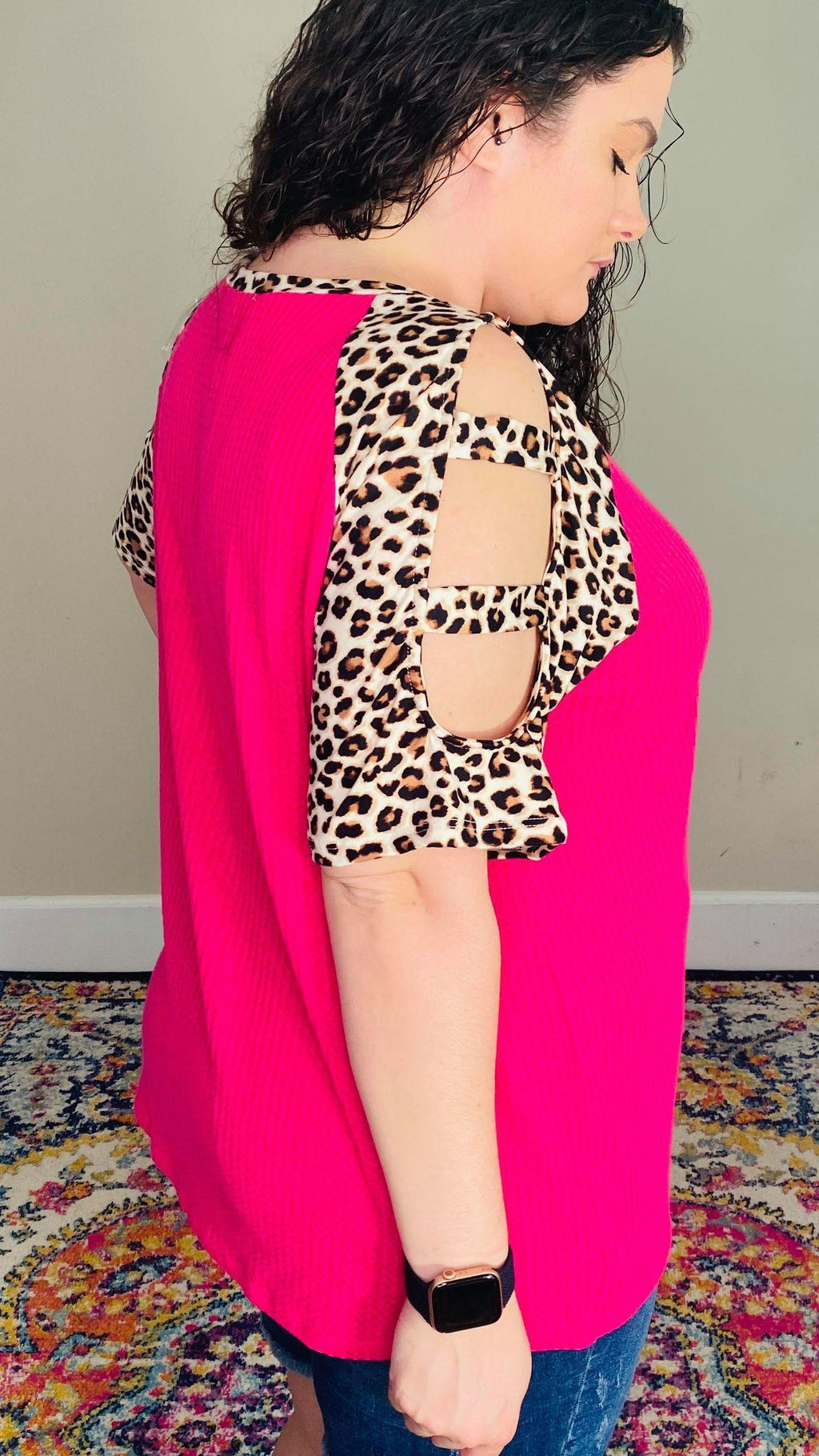 Hot Pink Leopard Ladder Top
