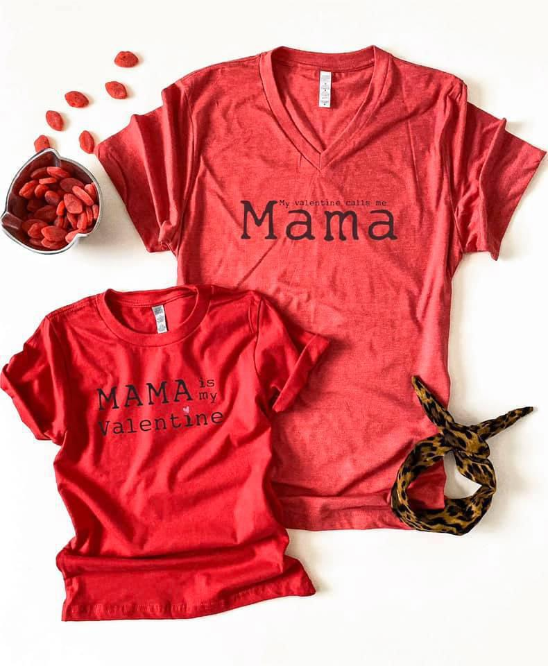 PREORDER| My Valentine Calls Me Mama Tee (ADULT) - Trendy Plus Size Women's Boutique Clothing