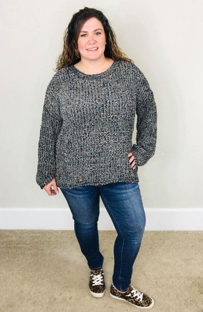 Flecked Knit Sweater Top | Charcoal - Trendy Plus Size Women's Boutique Clothing