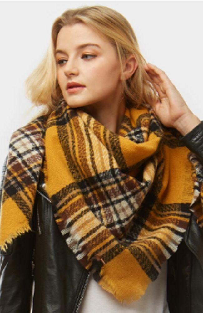 Mustard Plaid Blanket Scarf - Trendy Plus Size Women's Boutique Clothing