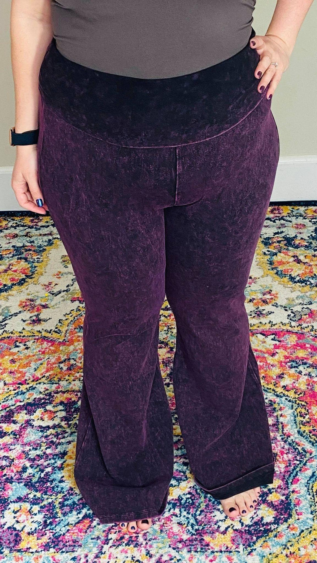 MINERAL WASHED FOLD OVER WAIST FLARE YOGA | Blackberry