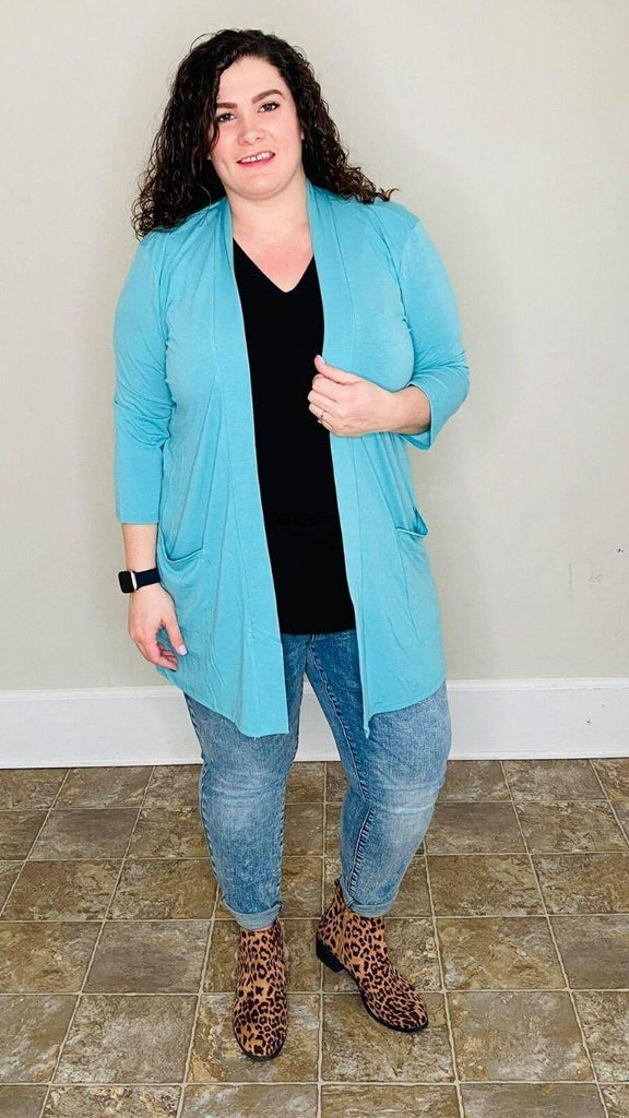 3/4 SLEEVE SLOUCHY POCKET OPEN CARDIGAN | Ash Mint