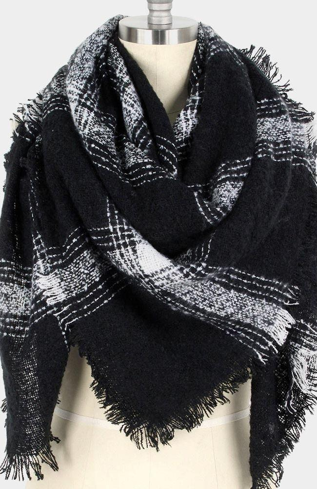 Black & White Plaid Blanket Scarf - Trendy Plus Size Women's Boutique Clothing