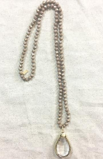 "36"" Hand Knotted Taupe Bead with Crystal Pendent - Trendy Plus Size Women's Boutique Clothing"