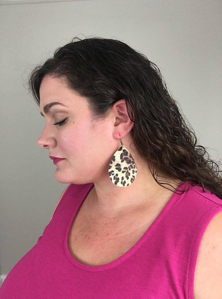 "2.5"" Leopard Teardrops (Leather) - Trendy Plus Size Women's Boutique Clothing"