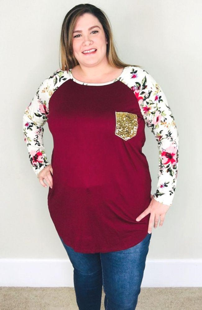 Floral Sleeve Raglan Top | Burgundy - Trendy Plus Size Women's Boutique Clothing