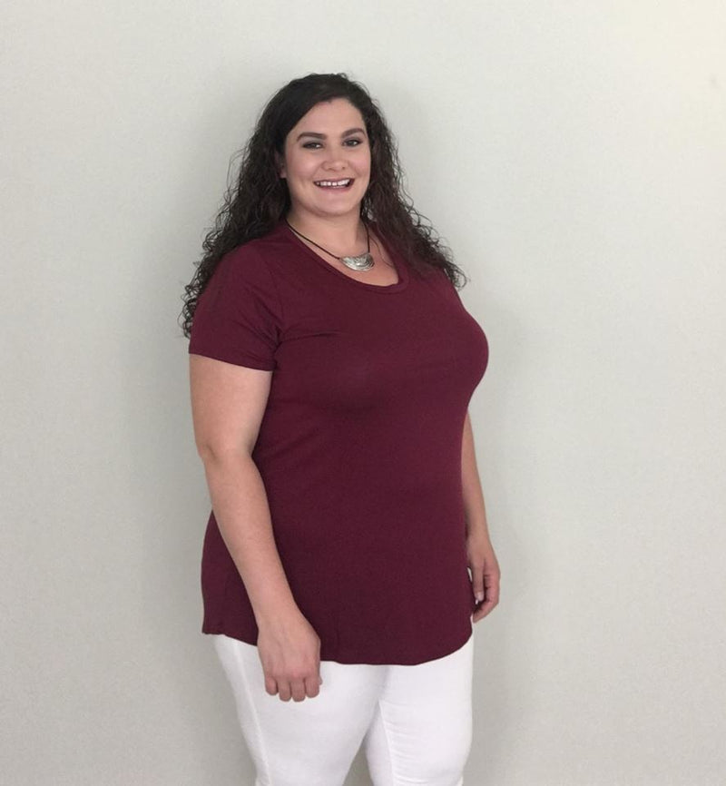 Burgundy Essential Short Sleeve Top - Trendy Plus Size Women's Boutique Clothing