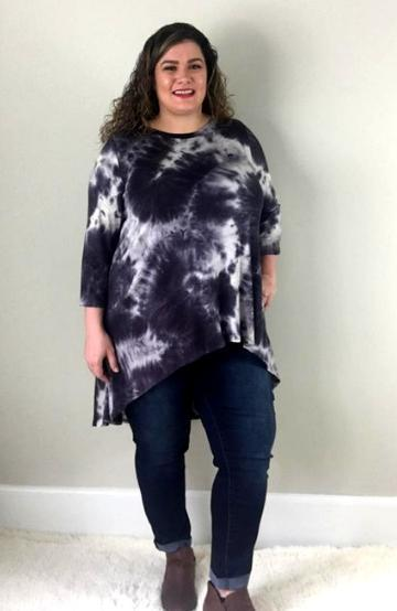 Black Tie Dye Hi Lo Tunic - Trendy Plus Size Women's Boutique Clothing