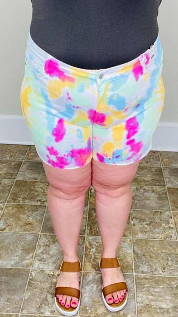 Rainbow Tie Dye Judy Blue Shorts - Trendy Plus Size Women's Boutique Clothing