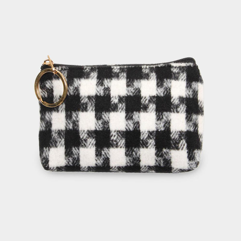 Houndstooth Coin Purse - Trendy Plus Size Women's Boutique Clothing