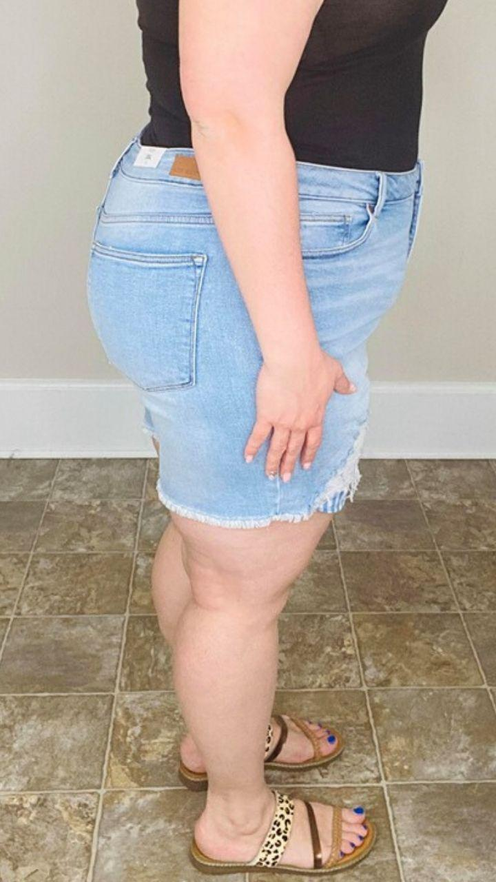 Judy Blue Blue Gingham Cut Off Shorts - Trendy Plus Size Women's Boutique Clothing