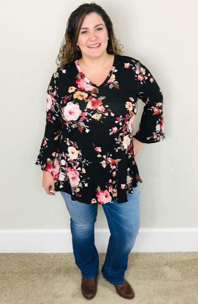 Black Floral Bell Sleeve Blouse - Trendy Plus Size Women's Boutique Clothing