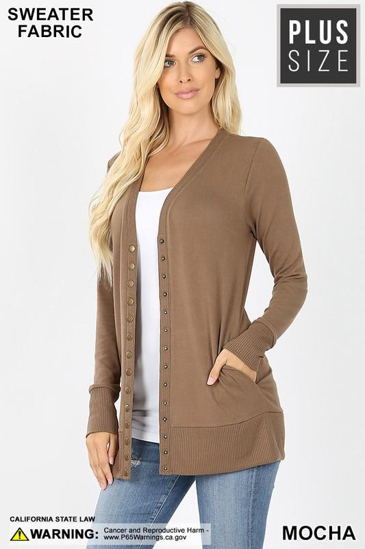 SNAP BUTTON SWEATER CARDIGAN WITH SIDE POCKETS | MOCHA