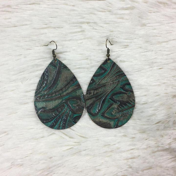 "2.5"" Weathered Teal & Brown Deep Embossed Teardrops (Leather) - Trendy Plus Size Women's Boutique Clothing"