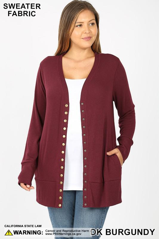 SNAP BUTTON SWEATER CARDIGAN WITH SIDE POCKETS | DK BURGUNDY