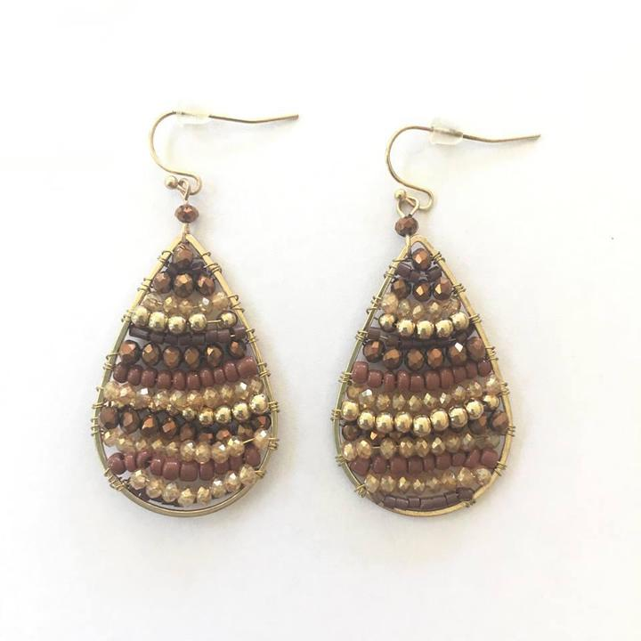 Teardrops of Bead  Earrings - Trendy Plus Size Women's Boutique Clothing