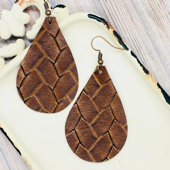 "Brown Basket Weave Vegan FAUX Leather Teardrop Approx. 3"" (with hooks) - Trendy Plus Size Women's Boutique Clothing"