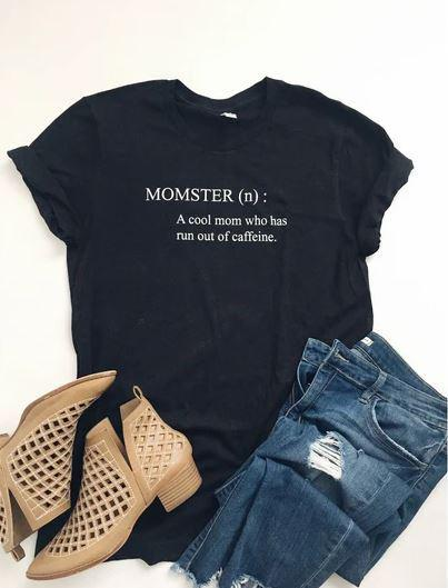PREORDER | Momster Tee (Black & Heather Mauve) - Trendy Plus Size Women's Boutique Clothing
