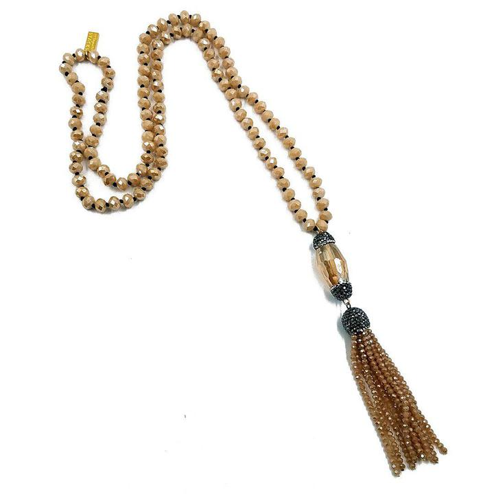 Apricot Crystal Tassle Necklace - Trendy Plus Size Women's Boutique Clothing
