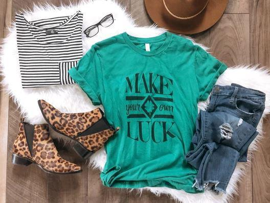 PREORDER| Make Your Own Luck Tee- Kelly Green - Trendy Plus Size Women's Boutique Clothing
