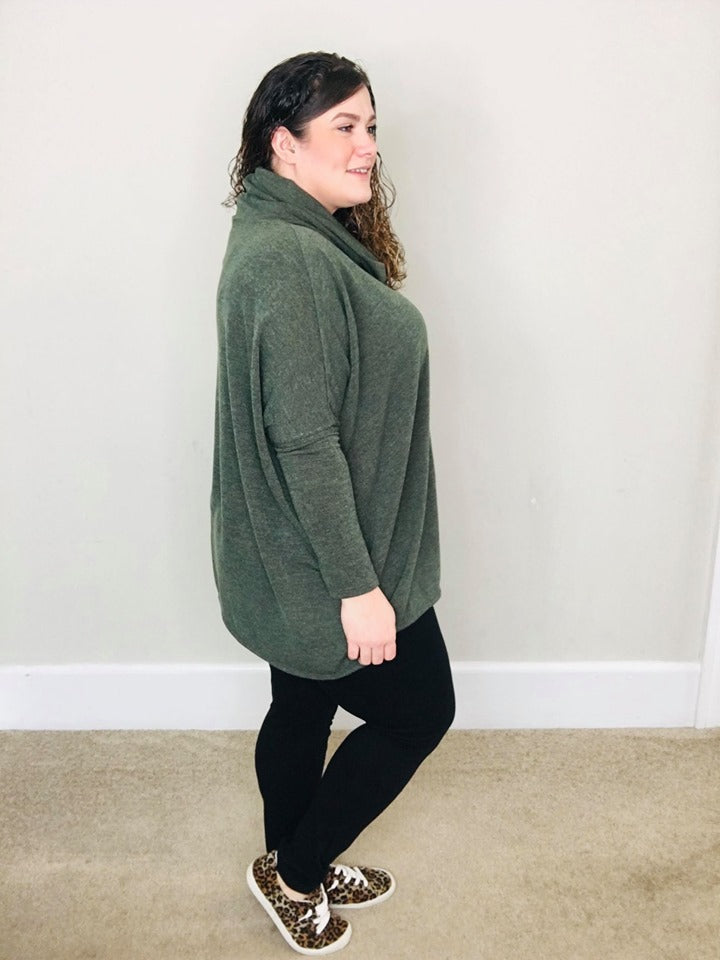Cowl Neck Sweater | Olive - Trendy Plus Size Women's Boutique Clothing