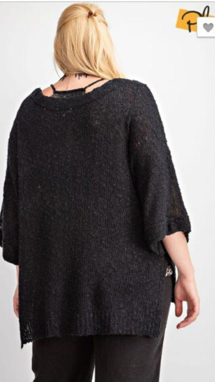 Black Sweater Pullover - Trendy Plus Size Women's Boutique Clothing