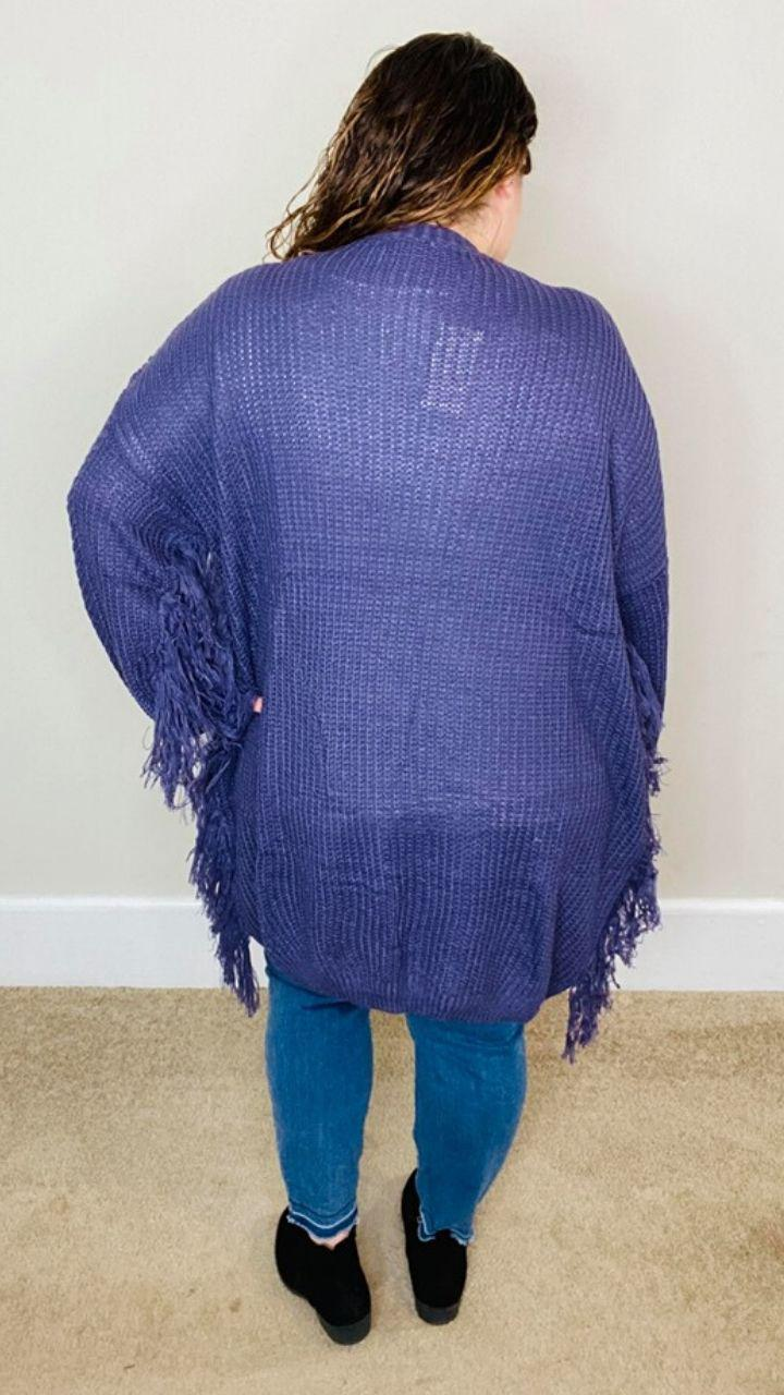 Purple Fringe Cardigan | Lora - Trendy Plus Size Women's Boutique Clothing
