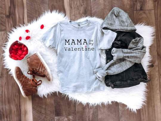 PREORDER | Mama is my valentine kids tee (Heather Grey & Red) - Trendy Plus Size Women's Boutique Clothing