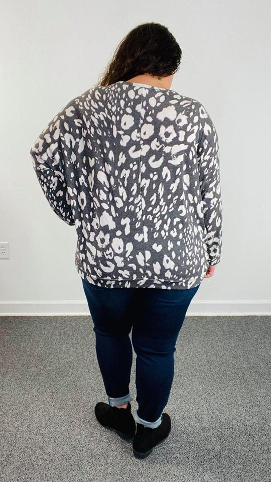 Grey Spots Dolman Long Sleeve Top