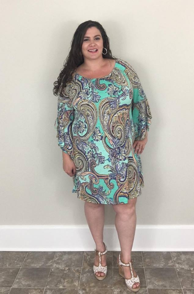 Seafoam Paisley Bell Sleeve Dress - Trendy Plus Size Women's Boutique Clothing