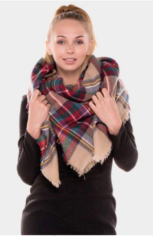 Camel Plaid Blanket Scarf - Trendy Plus Size Women's Boutique Clothing