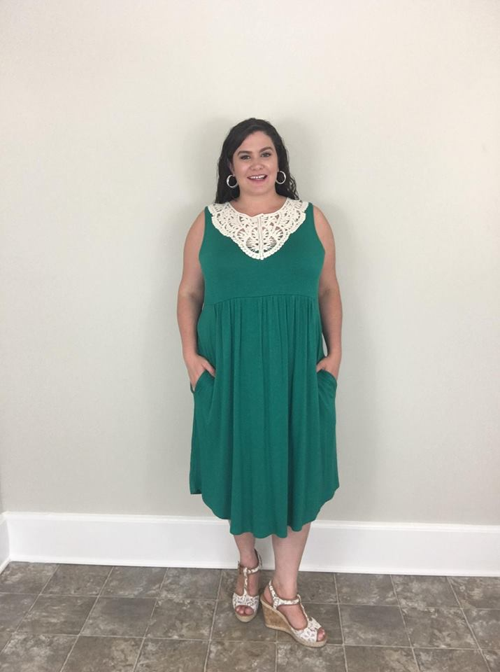 Dark Emerald Sleeveless Dress with Lace detail - Trendy Plus Size Women's Boutique Clothing