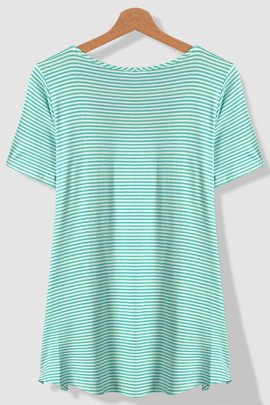 Mint Stripe Tee - Trendy Plus Size Women's Boutique Clothing