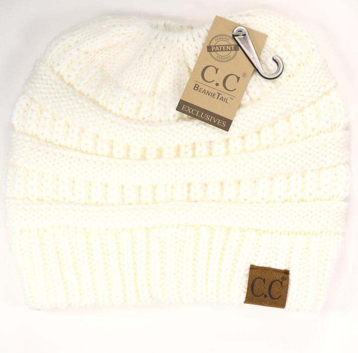 Messy Bun C.C. Beanie | Ivory - Trendy Plus Size Women's Boutique Clothing