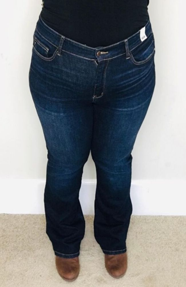 Whiskered Dark Boot cut Judy Blue Denim | Ziggy - Trendy Plus Size Women's Boutique Clothing