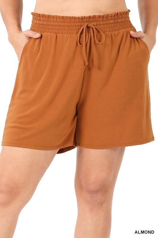 Smocked Waist Comfy Shorts | Almond