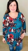 Sweet Floral Long Sleeve | Teal - Trendy Plus Size Women's Boutique Clothing