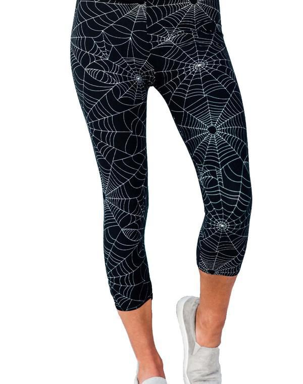 Halloween Spider Web Capri Leggings